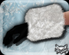 ! Black white fur gloves
