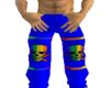 Blue rainbow skull pants