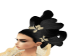 black hair gold flowers