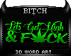!B 3D Weed Word Art Deco