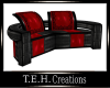 RedLeather CurvedCouch