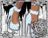 {E}Blue Polkadot Heels