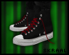 S| Black Converse + Red