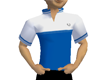 white , blue sports polo