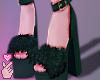 e fur heels - green