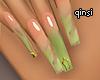 q! greenary ombre nails