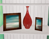 Frames and vase