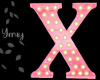 Pink Wood Letter X