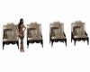 Mocha 4 Chairs N Row