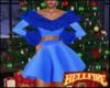 Blue Holiday Dress w/Fur