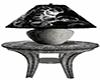 silver black tbl & lamp