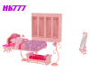 HB777 Pink Bedroom Set