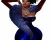 Blue Glitter Fur Stole
