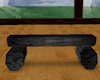 black wood log seat