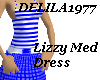 Lizzy Med Dress-Blue/wt