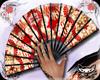 ! Geisha fan red gold