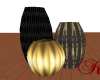 *KR-Black Gold Vases