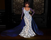 White & blue long dress