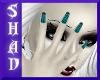 {SP}Teal Stripe Nails