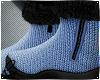 Blue Wool Fur Boots