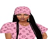 Pink LV Hat Blk Hair