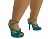 Stormy Teal Spike Pumps