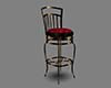 Gold Bar Stool Red Seat
