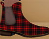 Red Ankle Boots Plaid M