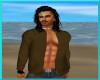 brown open shirt