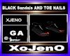BLACK Sandals &TOE NAILS