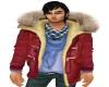 Red duffle fur collar