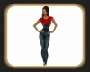 sandies denim outfit red