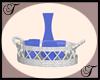 White wicker tray/glass