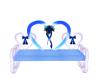 Blue/White Heart Bench