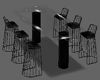 Black Glass Table 6ps