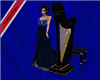 harp with blue seat