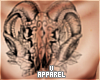 Ram Skull Chest Tattoo