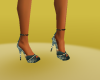 gold green heel shoes