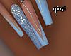 q! baby blue nails