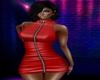 Red Leather Zipper Dress