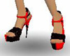 Red black female shoes