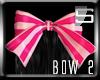 [S] Pink Goth Stripe Bow