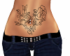 Rose heart belly tattoo