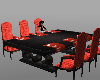Black dining table red