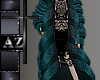 *az* Teal fur coat