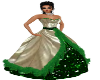 Ivory-Green Ball Gown