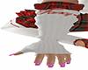 Gloves White Red Fancy