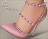 $ Studded Heels Pink