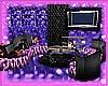 purple &blk couch set