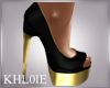K black gold peep toe